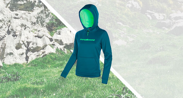 Multipurpose hoodie, with the trangoworld logo in chest.